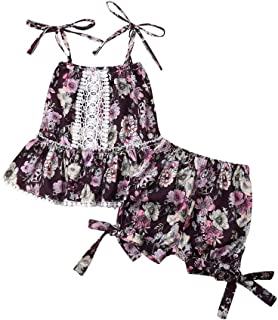 2b2436704e7 Toddler Baby Girl Floral Jumpsuit Sleeveless Flower Printed Wide Leg Pants  Rompers Outfits Clothes