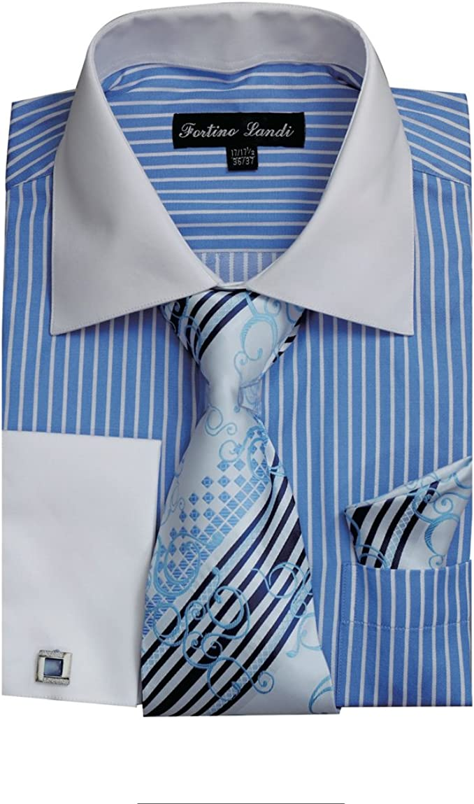Fortino National products shopping Landi Men's Striped Dress Shirt Cuff w Tie French Links