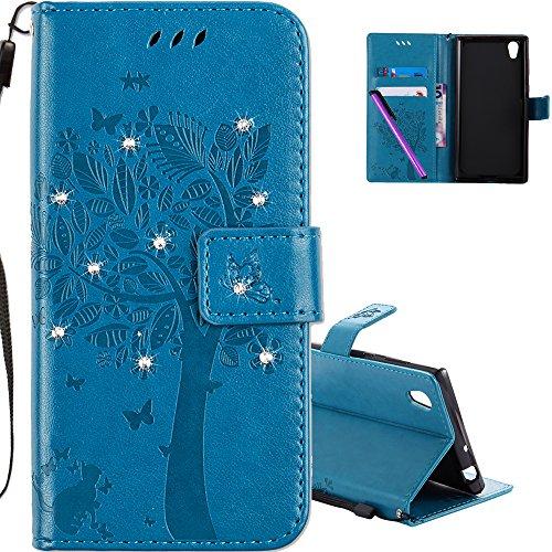 COTDINFOR Sony Xperia L1 Hülle für Mädchen Elegant Retro Premium PU Lederhülle Handy Tasche mit Magnet Standfunktion Schutz Etui für Sony Xperia L1 Blue Wishing Tree with Diamond KT.