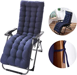 Patio Chaise Lounger Cushion, Indoor/Outdoor Chaise Lounger Cushions Rocking Chair Sofa Cushion with 6 Ties,Thick Padded Chaise Lounger Swing Bench Cushion,61Inch (Navy)