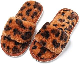 KVbabby Hiver Pantoufles Coton Peluche Chaussons pour Fille Intérieur Anti Slip Maison Slippers pour Femme