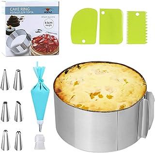 Mizijia, Anneau de gâteau 16-30CM avec, Anneau de gâteau haut8.5CM, Forme Ronde, diamètre réglable, Cercle de gâteau en Ac...