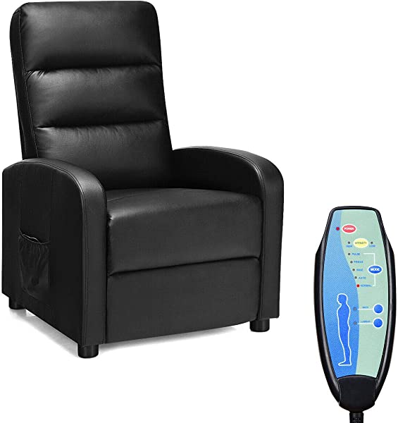 Giantex Massage Recliner Chair Reclining Adjustable Sofa Padded Seat Cushion Backrest PU Leather Remote Control Home Theater Seating Leisure Lounge Chaise Living Room Office Recliner Black