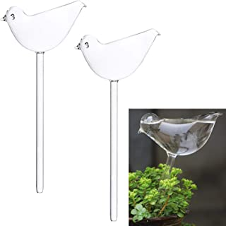 Lomodo Plant Waterer Transparent Glass Self Watering Bulbs Bird Shape Automatic Watering Globes Watering Spikes for Indoor...