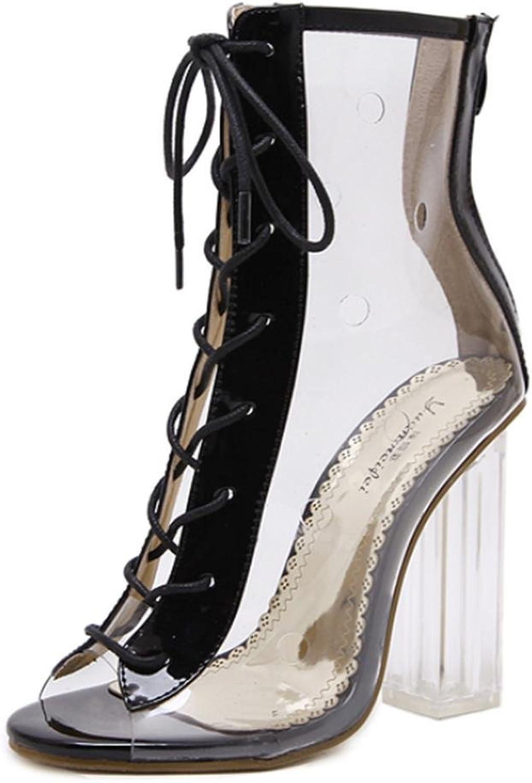 Kitzen Kitzen Kitzen Frauen Sandalen Frauen Pumps Sommer New Wind Transparente Dicke Coole Stiefel Crystal Sandalen High-Heeled Peep Toe Straps Schuhe Court Schuhe  a57c99