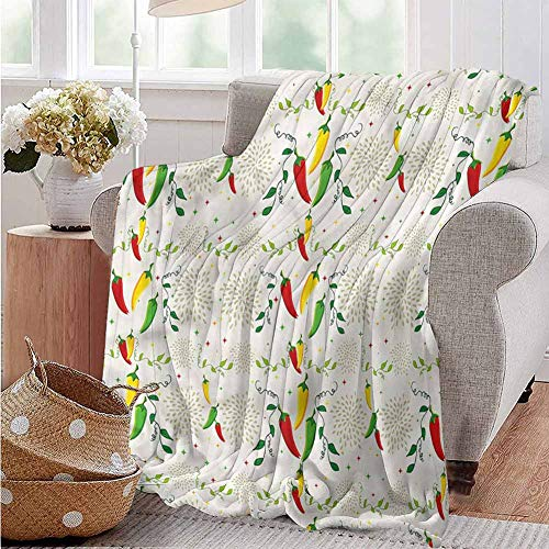 Luoiaax Vegetables Children's Blanket Mexican Food Hot Sauce Lightweight Soft Warm and Comfortable W60 x L50 Inch