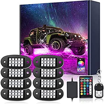 AMBOTHER LED RGB Rock Lights 120 LEDs 8 Pods Underglow APP Multicolor Music Sync Waterproof Neon with 24 Key 4 Key Remote Controller Exterior Under Glow Light for Trucks Car Off Road