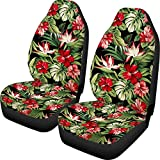 HUGS IDEA Auto Accessories Protectors Car Seat Covers 2 Piece Hawaiian Style Tropical Floral Universal Fit for Car Truck SUV Sedans