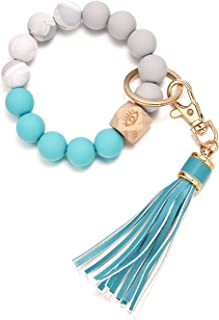 Silicone Beaded Bracelet Keychain Wristlet, Bead Key Ring Bangle Chains Bracelet For Women With Leather Tassel