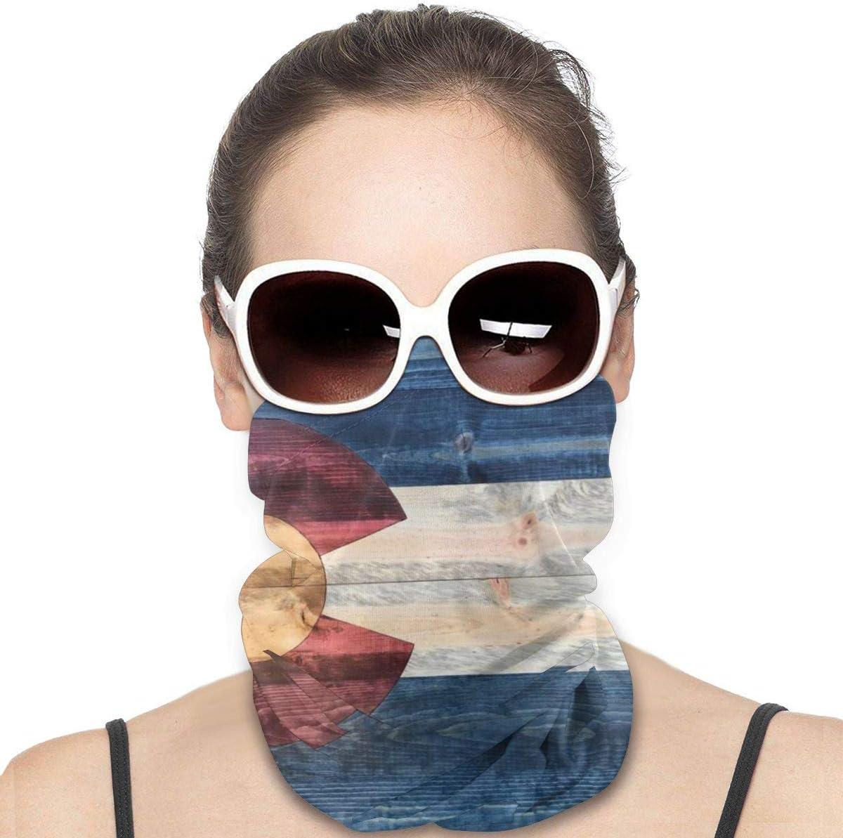 Headwear Face Mask Rustic Wood Colorado State Flag Sports Headband Bandana Head Wrap Neck Gaiter Scarf