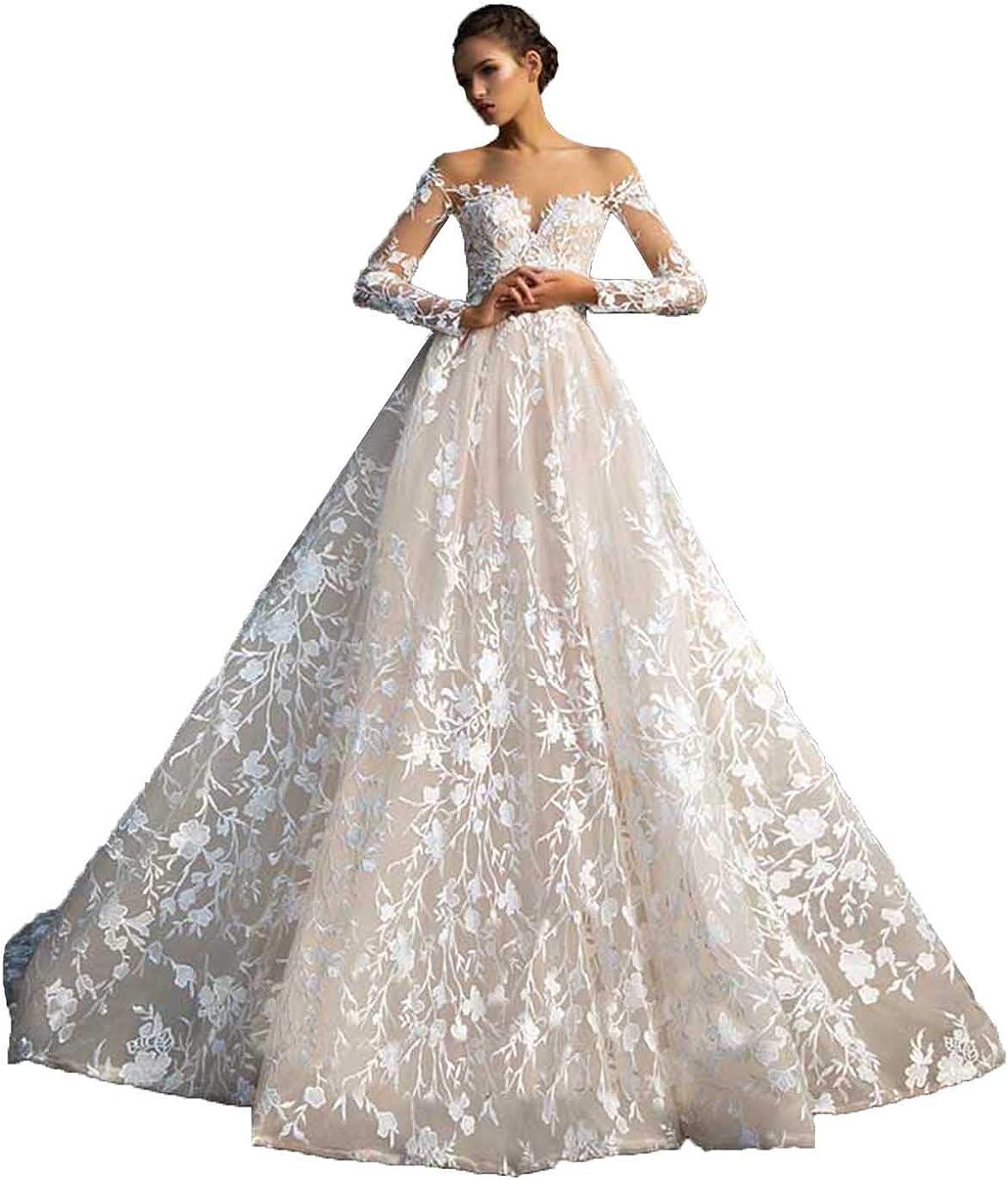 Amazon.com SDRESS Women's Illusion Neckline Lace Applique Long ...