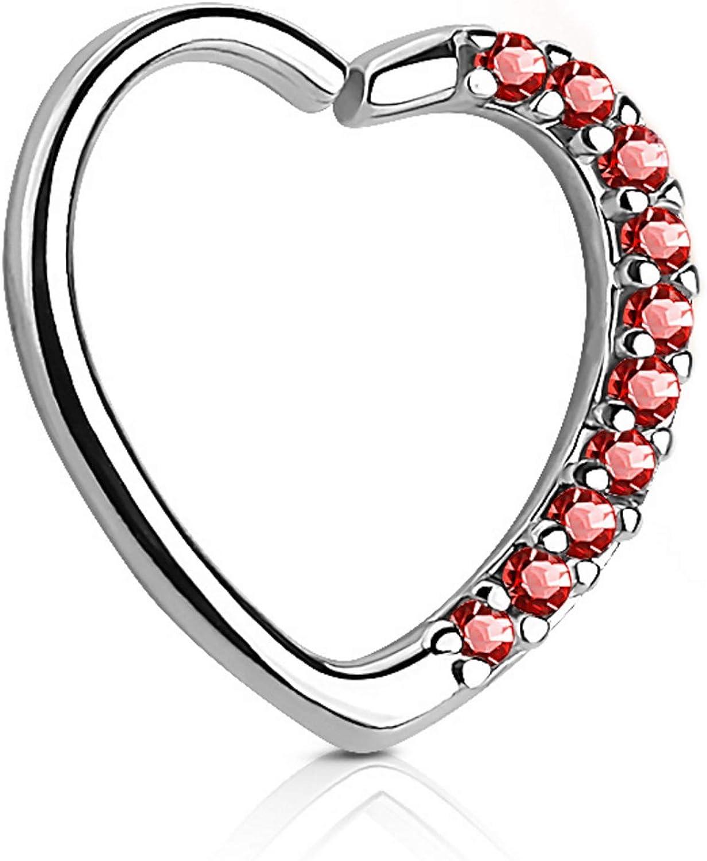 Heart with CZ Gems Cartilage Tragus Daith Piercing Earring (Left Ear) - 16G 3/8