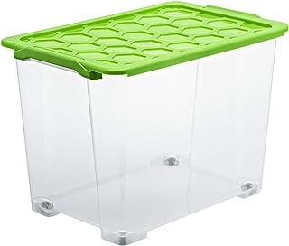 Rotho Evo Safe Keeping Boîte de Rangement 65L avec Couvercle et Roulettes, Plastique (PP) sans BPA, Transparent / Vert, 65...