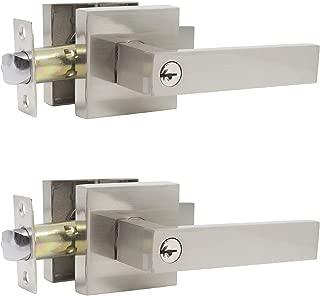 Probrico 2 Pack Entrance Lock Keyed Alike,Entrance Lever Door Handle,Heavy Duty Entry Lockset Sqaure Panel,Universal Handing Hardware for Front/Back Gate