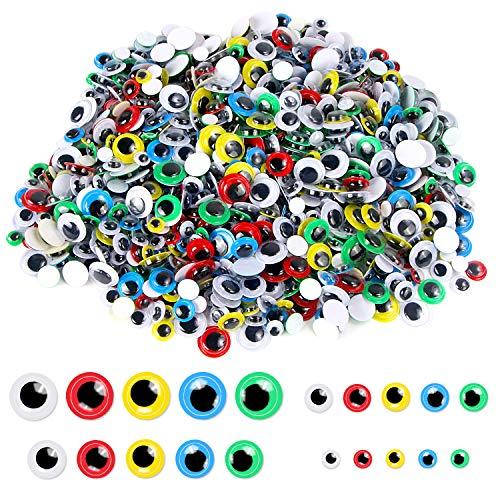 Upins 1000pcs Pegatinas redondas de plástico para manualidades con ojos oscilantes autoadhesivos con diferentes colores y tamaños para manualidades DIY