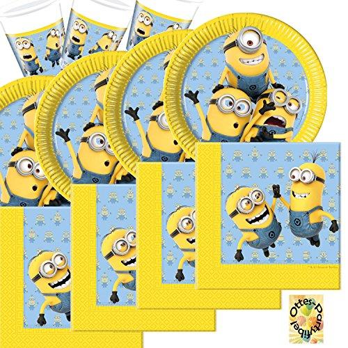 HHO Lovely Minions Partyset 52 Teile für 16 Kinder Teller Becher Servietten