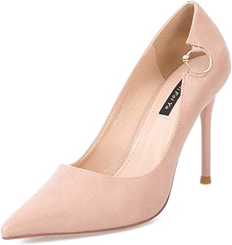 GTVERNH Mode Chaussures Femme Question 10 Cm De Talon Haut Métal Sexy Et Léger Simple Les Les dames Fait Petite Bouche Chaussures.Trente - Huit Beige