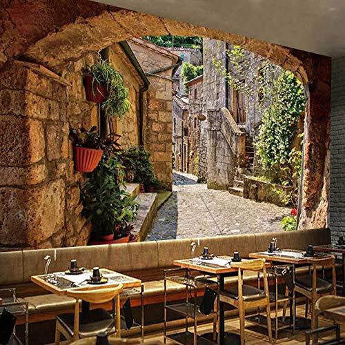papel tapiz papel tapiz 3d con vista urbana europea foto cocina habitación restaurante pintura de la casa-260cm Wx 175cm H(102.3×68.9inch)