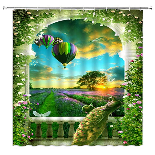 Peacock Shower Curtain Purple Lavender Fields Hot Air Balloon Colorful Flower Manor Floral Wall Fantasy Garden Arched Door Nature Plant Spring Scenery Bath Curtains Fabric with Hook70 WX70 H
