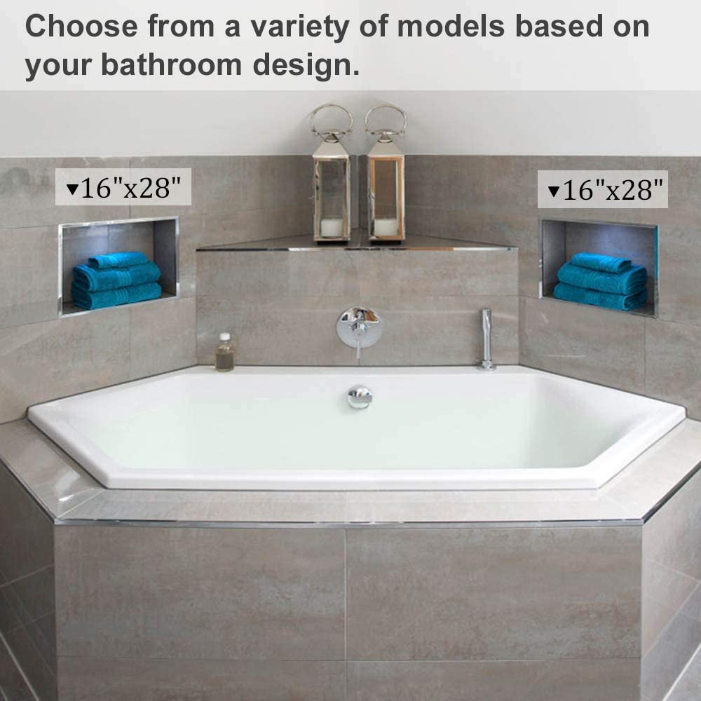 Shower Cube Ready for Tile Waterproof Leak-proof Bathroom Indoor Recessed Niche Storage Washing Toiletries Bottles 16/″ x 16/″ Square Shower Niche