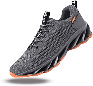 JIYE Men's Solid Color Sneakers Lightweight Breathable Athletic Running Shoes Lace Up Walking Shoes