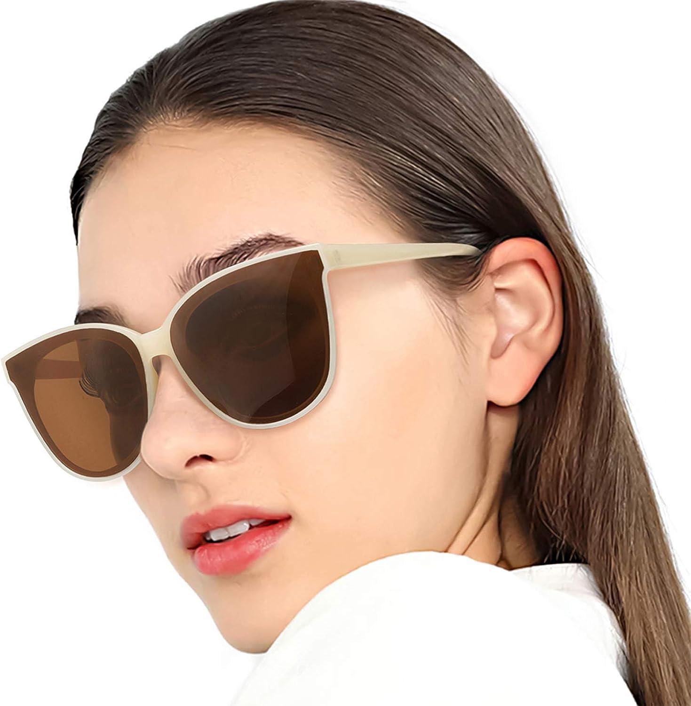 Polarized Oversized Frame 100% UV Predection Fashion Cateyes Style Sunglasses Eyewear for Women (Nude, Brown)