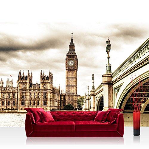 Vlies Fototapete 208x146cm PREMIUM PLUS Wand Foto Tapete Wand Bild Vliestapete - London Tapete Big Ben Tower Wasser Brücke England sepia - no. 2190