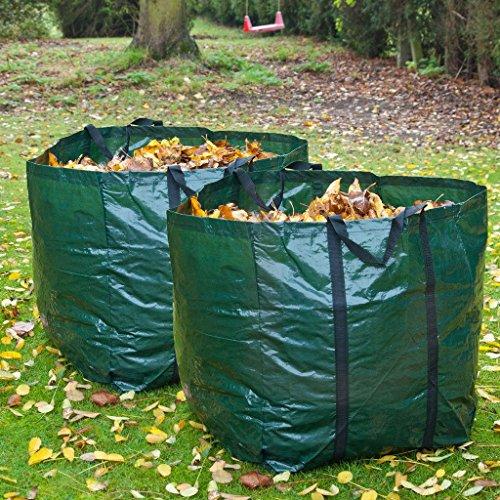 ADEPTNA Lot de 2 sacs de jardin résistants de 150 litres pour déchets de jardin, sacs poubelle et herbe imperméables et réutilisables