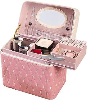 Make-upkoffer, draagbare multifunctionele make-uptas, PU draagbare make-upkoffer mode cosmetische opbergdoos met grote cap...
