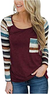 GUOCAI Women Fashion O Neck Stripe Long Sleeve Slim Fit T-shirt with Pockets