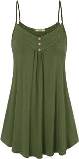 Viracy Women's Summer Button V Neck Pleated Spaghetti Strap Camisole Tank Tops