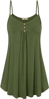 Women's Summer Button V Neck Pleated Spaghetti Strap Camisole Tank Tops
