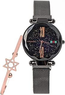 Womens Starry Sky Watch and Bracelet Set Luxury Quartz Magnetic Mesh Band Watch