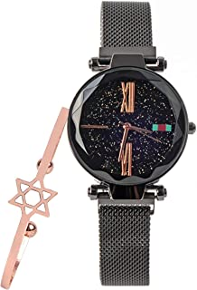 Womens Starry Sky Watch and Bracelet Set Luxury Quartz Magnetic Mesh Band Watch