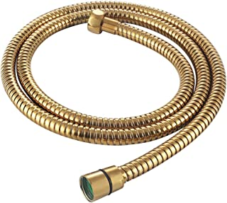 Flexible Shower Hose 59-Inch, APLusee Stainless Steel Replacement Shower Hose with Swivel Brass Adapter, for Shower Head/Bidet Handheld Sprayer Wand 4.9ft, Gold