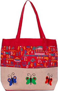 Asian Eco-Friendly Jute Bag-Reusable Tiffin/Shopping/Grocery Multipurpose Hand Bag with Zip & Handle for Men and Women