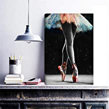 HOMEOART Dancing Wall Art Ballet Dancer Ballerina Girl with Colorful Tutu Painting Modern Picture Prints on Canvas Gallery Wrapped Framed Ready to Hang 16