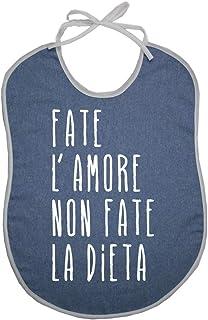 Bavaglione per Adulti Jeans con Frasi Divertenti - Bavaglione Jeans cm.45X60 con Transfer - Made in Italy (Amore)