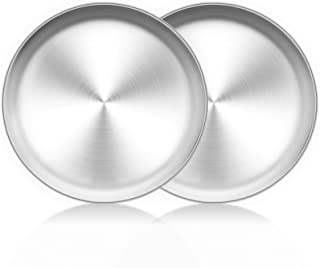 TeamFar Pizza Pan, 10 inch Pizza Pans Pizza Tray Stainless Steel for Oven Baking, Non Toxic & Healthy, Heavy Duty & Dishwa...