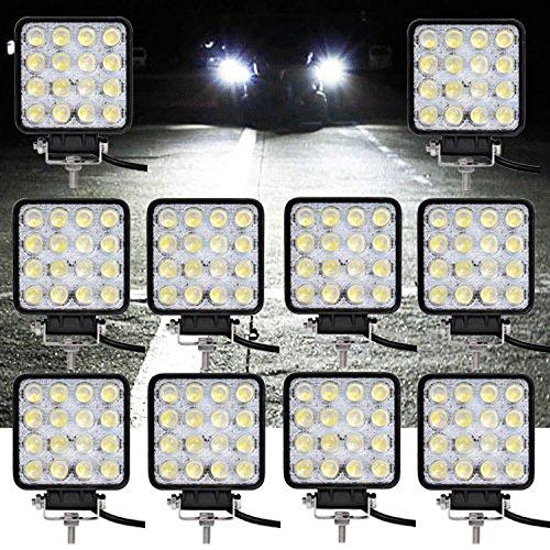 VINGO® 10X 48W LED Arbeitsscheinwerfer Flutlicht Offroad Scheinwerfer kaltweiß 6500K, 4320lm, Traktor Arbeitsleuchte