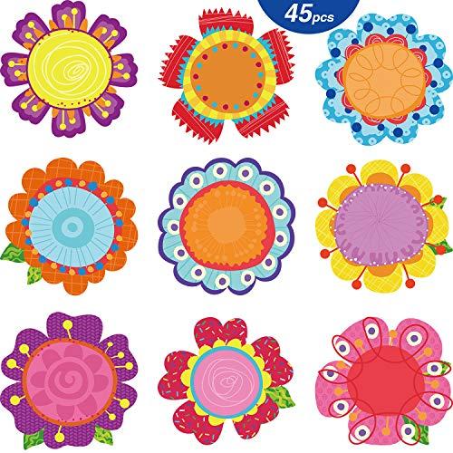 45 Stücke Blumen Ausschnitte Frühling Blüten Ausschnitte Vielseitige Bunte Blumen Dekoration Ausschnitte mit Klebe Punkten für Bulletin Board Schule Frühling Sommer Thema Party, 5,9 x 5,9 Zoll