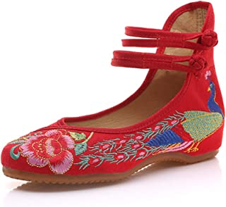 Aiweijia Women's Embroidery Dancing Comfortable Flats Dress Shoes for Cheongsam