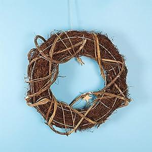 YC Guirlande Créative en Rotin, La Parfaite Décoration De Noël Ou d'hiver en Intérieur Ou en Extérieur, Décorez Votre Maison Toute L'année