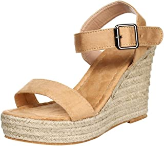 jessie Women High Heel Sandals Casual Comfort Espadrilles Open Toe Platform Sandals with Ankle Strap