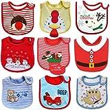 ElecMotive Juego de 9 Navidad Impermeables Baberos del Bebé 0 a 3 años