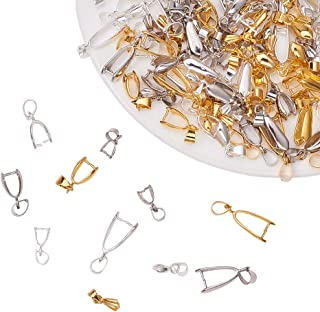 PandaHall Elite 120 Pieces Brass Pinch Clip Bail Clasp Dangle Charm Bead Pendant Connector Findings 12 Styles for Jewelry Making 3 Colors
