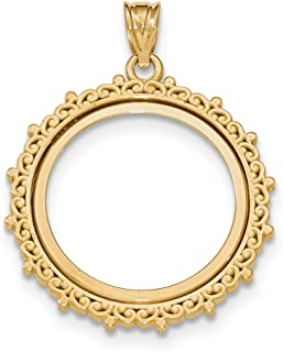 14k Yellow Gold Prong 1/4ae Bezel Necklace Pendant Charm Coin Holders/bezel American Eagle Fine Jewelry Gifts For Women For Her