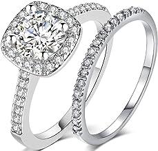 Silver Rose Gold 1.5 Carat Wedding Engagement Eternity...