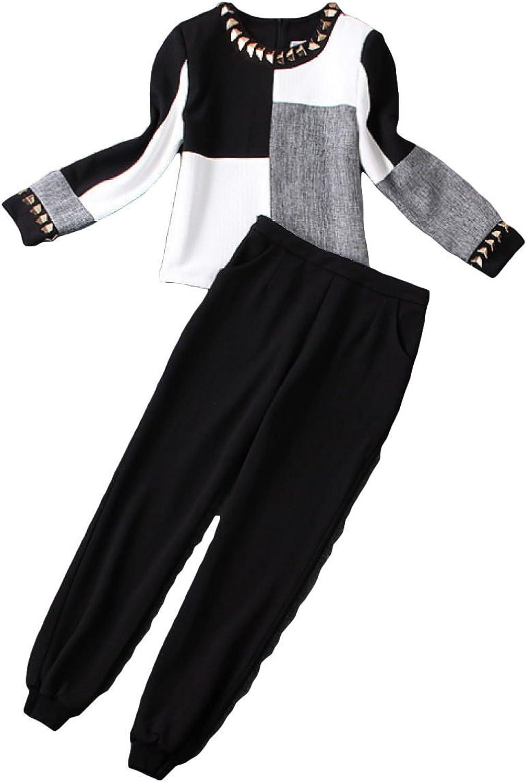 Spring Women's Cotton Short Jacket Casual Pants Two Piece Set