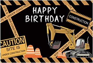 Baocicco 5x3ft Happy Birthday Backdrop Excavator Traffic Cone Warmings Traffic Warming Lines Photography Background Boy's Birthday Party Baby Children Adults Portrait Studio Video Prop